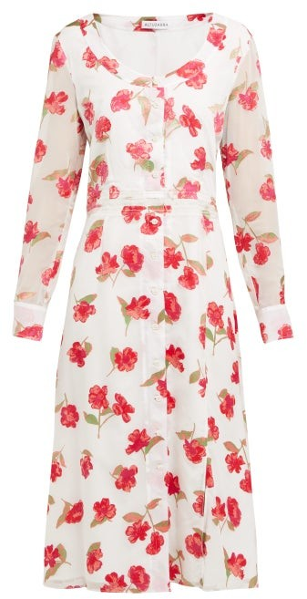 Altuzarra Livia Poppy-devore Waistband Midi Dress - White Multi