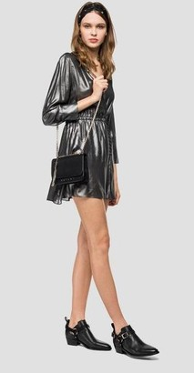 Replay V Neck Dress With Satin Effect - XS