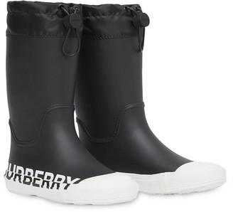 BURBERRY KIDS Logo Print Rain Boots