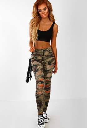 Pink Boutique Love Is War Khaki Camo Ripped Skinny Jeans