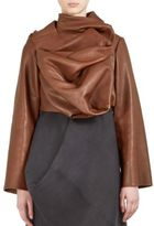 Rick Owens Ruffled Long Sleeve Leather Top