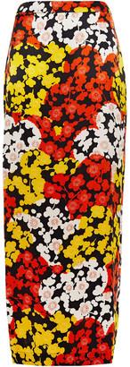 McQ Printed Silk-satin Maxi Skirt
