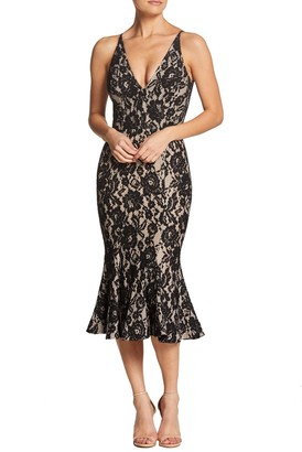 Dress the Population Isabelle Plunging V-Neck Lace Midi Dress