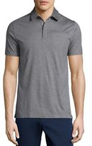 Michael Kors Cotton/Silk Short-Sleeve Polo Shirt, Gray