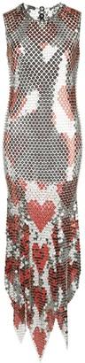 Paco Rabanne Heart Print Chain-Link Midi Dress