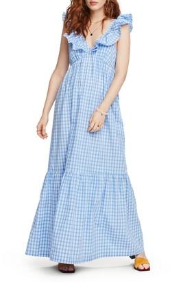 Scotch & Soda Ruffle Trim Stripe Maxi Dress