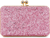 Sophie Hulme Sidney Glittered Suede Clutch - Pink