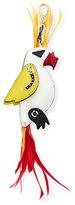 Prada Parrot Leather & Feather Charm, White/Multi