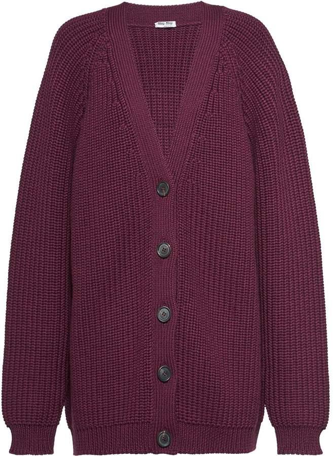 Miu Miu Shaker knit wool cardigan