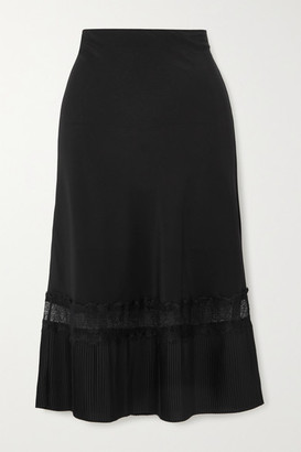 SLEEPING WITH JACQUES The Osiris Lace-trimmed Plisse Silk Crepe De Chine Skirt - Black