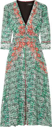 Saloni Eve Gathered Printed Silk Crepe De Chine Dress