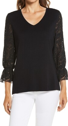 Ming Wang Lace Sleeve V-Neck Tunic