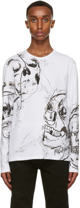 Alexander McQueen White and Silver Skull Long Sleeve T-Shirt