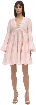 Giamba Eyelet Lace Taffeta Mini Dress