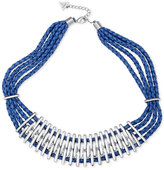 GUESS Silver-Tone Multi-Layer Blue Faux Leather Statement Necklace