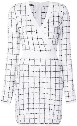 Balmain checked V-neck dress