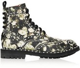 Givenchy Ankle Boots In Multicolored Floral-Print Textured-Leather