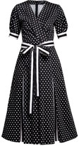 Jennifer Polka Dot Flared Cotton Dress With Striped Details & Slits