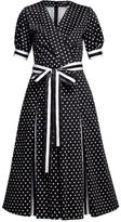 Rumour London Jennifer Polka Dot Flared Cotton Dress With Striped Details & Slits
