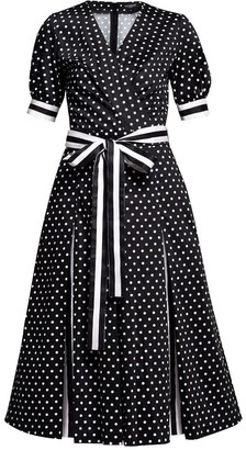 Rumour London Jennifer Polka Dot Flared Cotton Dress With Striped Details & Slits