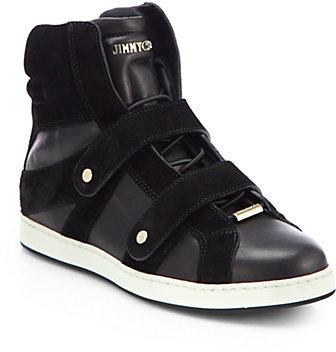 Jimmy Choo Yazz Leather & Suede High-Top Sneakers