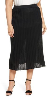 Ming Wang Pointelle Knit Skirt