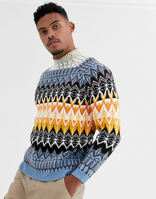 Asos Design DESIGN turtle neck jumper with fairisle pattern in blue-Multi