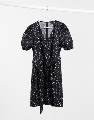 Monki Ofelia cotton sprinkle dot print tie waist playsuit in black