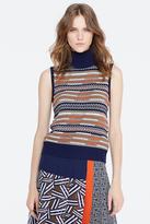 Diane von Furstenberg Carsyn Mixed Knit Sleeveless Top