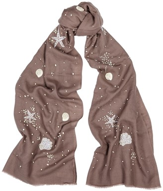 Janavi India On The Sea Shore embellished merino wool scarf