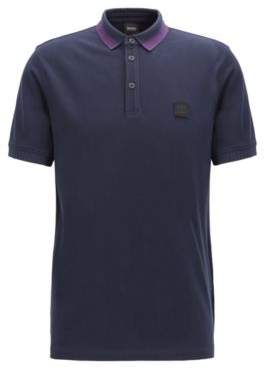 Regular-fit polo shirt in cotton with colorful collar