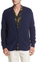 Vince Textured Wool-Cashmere Cardigan, Navy