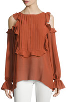 Max Studio Cold-Shoulder Ruffled Top, Terracotta