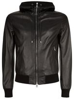 Dolce & Gabbana Leather Hood Bomber Jacket