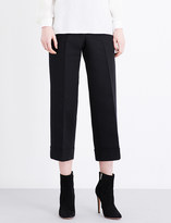 Sandro Cropped high-rise stretch-woven trousers