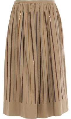 Brunello Cucinelli Gathered Embellished Cotton-blend Twill Midi Skirt