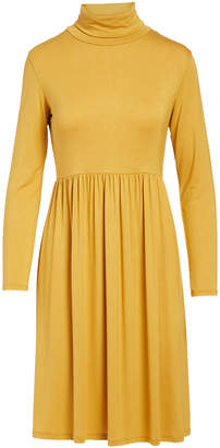 Bella Flore Women's Casual Dresses MUSTARD - Mustard Long-Sleeve Turtle Neck Dress - Women & Plus