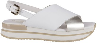 Hogan White And Silver Leather Sandals