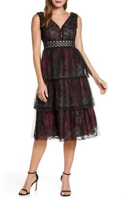 Taylor Dresses Tiered Lace Midi Dress