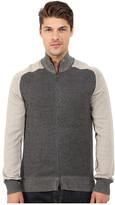 Agave Denim Long Sleeve Full Zip Mock Neck Color Block Top