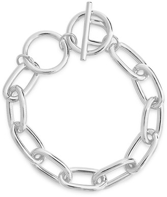 Sterling Forever White Rhodium-Plated Link Toggle Bracelet