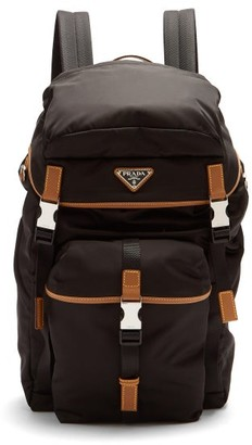 Prada Logo-plaque Leather-trimmed Nylon Backpack - Black Brown