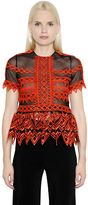 Jonathan Simkhai Lattice Embroidered Organza Peplum Top