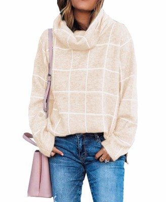 KIRUNDO 2019 Winter Womens Turtleneck Knit Sweater Long Sleeves Pullover Plaid Print Side Split Checked Outwear Loose Fit Jumper Tops (Large