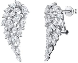 Jools by Jenny Brown Cubic Zirconia Angel Wing Drop Earrings, Silver