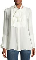 Etro Pleated-Bib Silk Shirt with Scarf