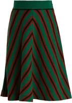 Miu Miu A-line chevron-striped intarsia-knit wool skirt