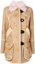 Coach embellished floral jacket - women - Calf Leather/Sheep Skin/Shearling/Viscose - 2