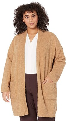 Eileen Fisher Plus Size Organic Cotton Boucle Cardigan (Honey) Women's Clothing