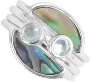 Lucky Brand Silver-Tone Abalone & Crystal Stack-Look Ring
